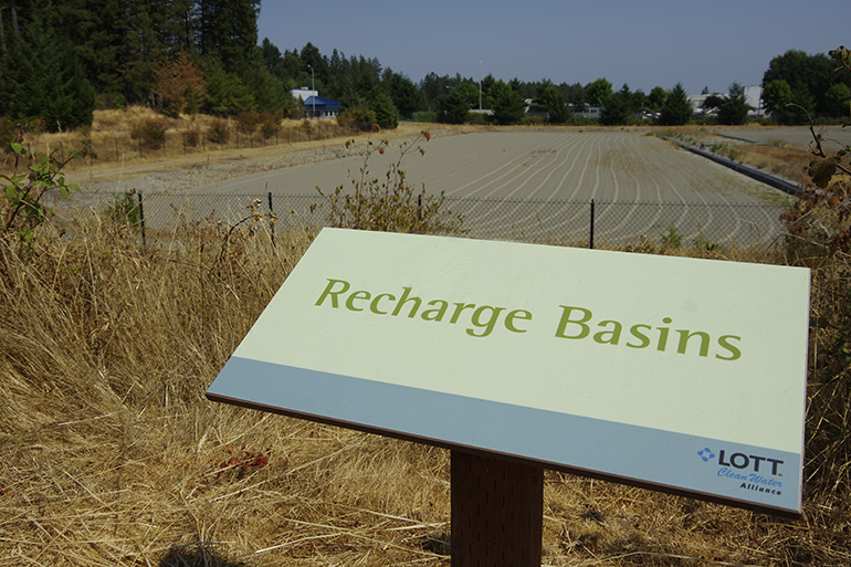 Reclaimed water recharge basins at LOTT's Hawks Prairie Ponds site in Lacey, Washington