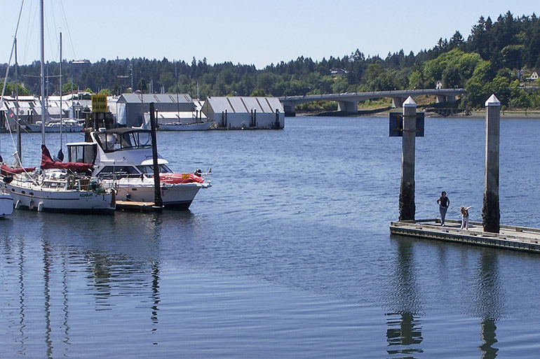 Water and boat docks in downtown Olympia
