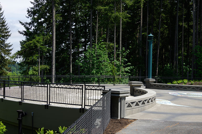 Deschutes Valley Park and reclaimed water storage tank in Tumwater, Washington
