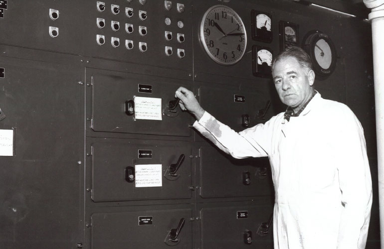 1950s LOTT wastewater treatment plant operator in the control center