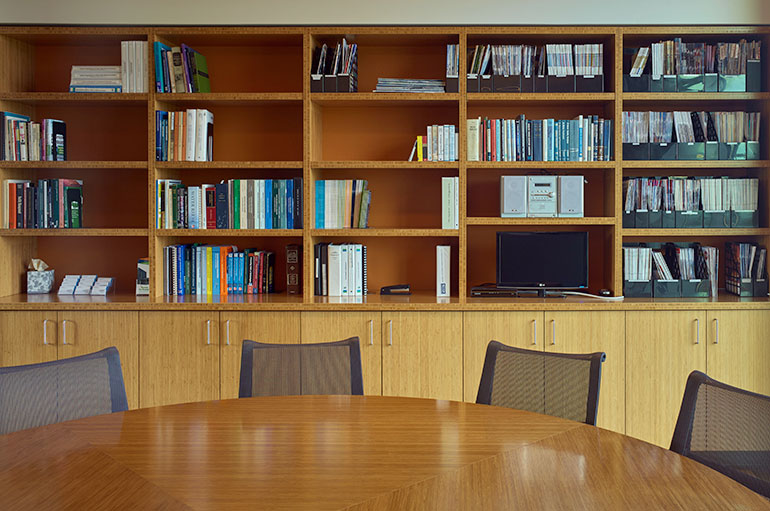Reference library and meeting table at LOTT's main office building