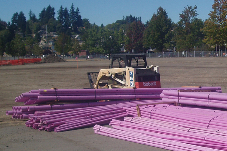 Purple pipes are used to indicate reclaimed water conveyance