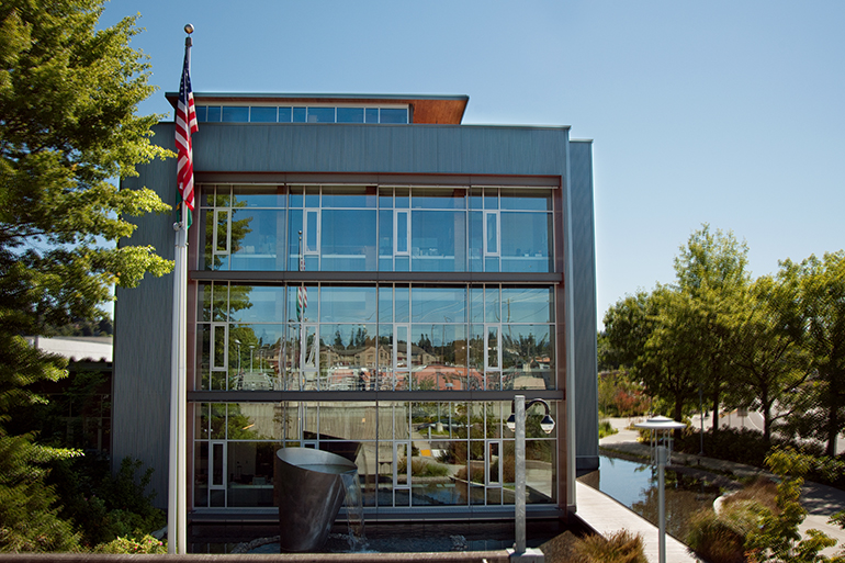 LOTT's main office and reclaimed water fountain in downtown Olympia, Washington