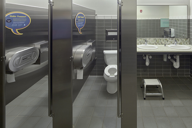 Public bathrooms at LOTT's WET Science Center feature water saving appliances