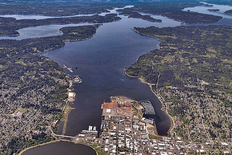 Aerial photo showing Puget Sound and portions of Olympia, Washington
