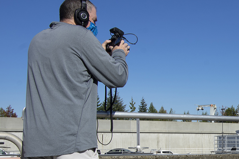 Cameraman shooting video at LOTT's Budd Inlet Treatment Plant.