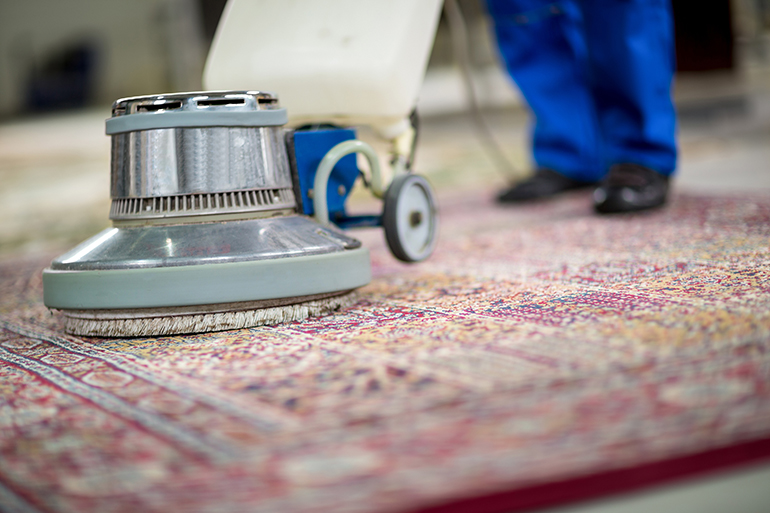 Closeup view of a commercial carpet cleaning.