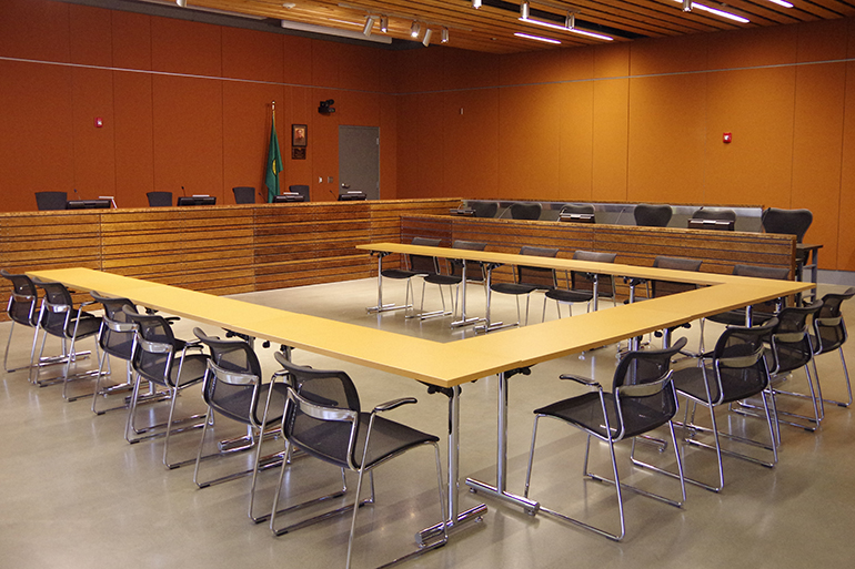 LOTT Board Room with tables and chairs.