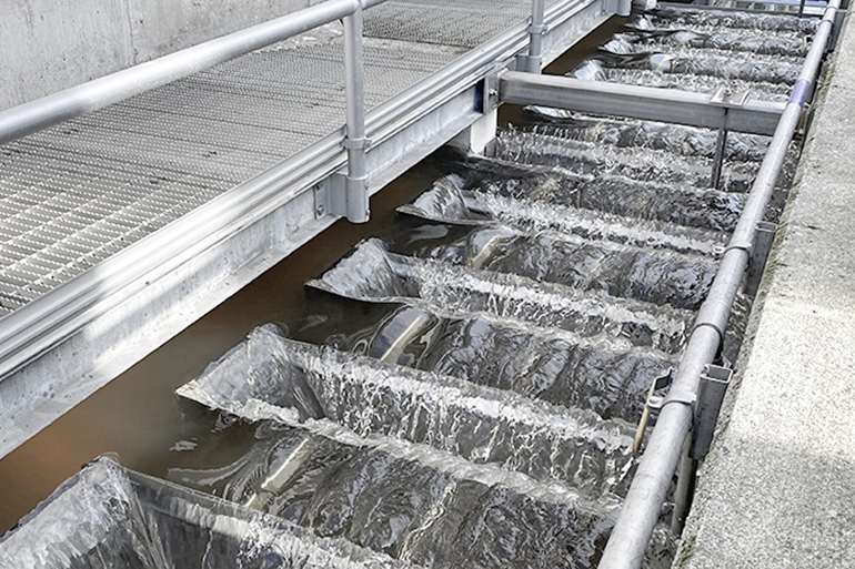 Effluent weirs with cleaned water.