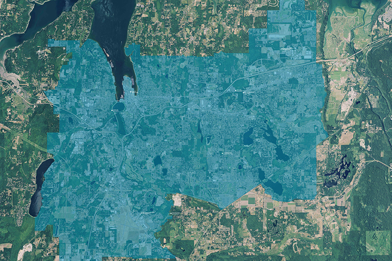 Aerial photo with overlay showing the urban growth area of north Thurston County.